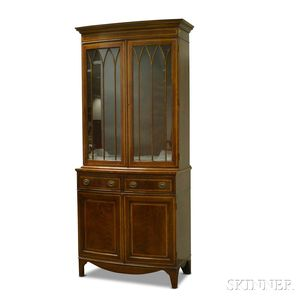 Federal-style Inlaid Mahogany Glazed Bow-front Cabinet
