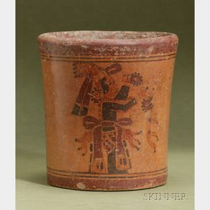Pre-Columbian Polychrome Cylinder