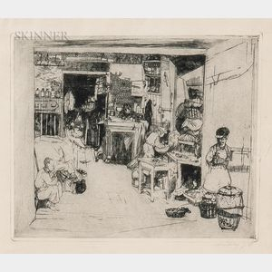 John William Winkler (American, 1890–1979)      Framed Etching of an Interior