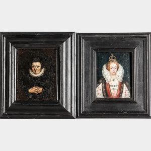 Dutch or Flemish School, 17th Century      Two Small Portraits of Women: Queen (Possibly Anne of Denmark)