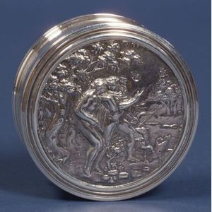 George II Silver Powder Jar with Charles II Inset-Lid