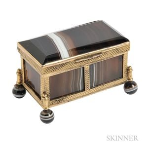 Antique Miniature Gilt-metal and Banded Agate Casket