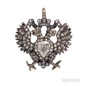 Antique Diamond Double Eagle Pendant/Brooch