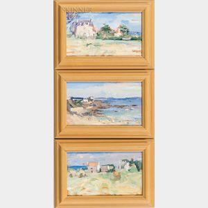 Philip Salvato (American, 20th/21st Century)      Three Landscapes Depicting Le Pouldu, France