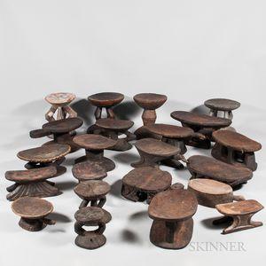 Twenty-two Tribal Wood Stools
