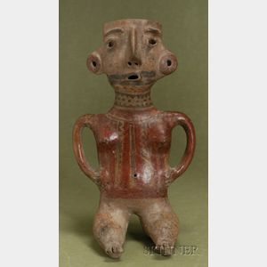 Pre-Columbian Painted Pottery Female Figure