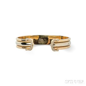 "18kt Tricolor Gold and Diamond ""C de Cartier"" Bracelet, Cartier"