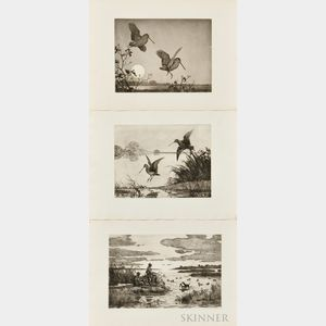 Aiden Lassell Ripley (American, 1896-1969) Three Fowling Prints: Flight Woodcock, Snipe at Dawn, and The Faithful Retriever. Each stamp