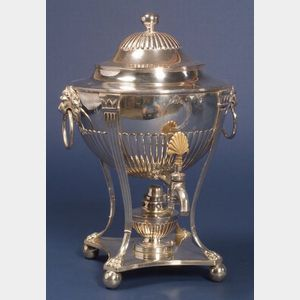 George III Silver and Silver Plate Kettle on Stand