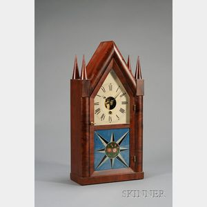 """Mahogany Sharp Gothic or """"Steeple"""" Clock by Silas B. Terry"""