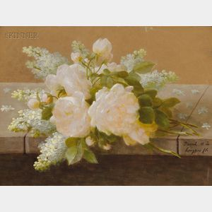 Raoul Maucherat de Longpré (French, 1855-1911)      White Roses and Lilacs Upon a Marble Sill