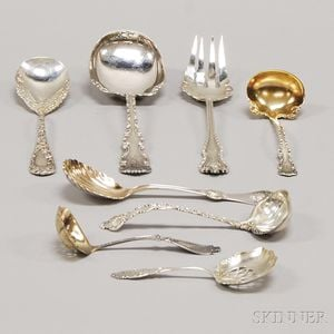 Eight Sterling and Coin Silver Flatware Serving Items