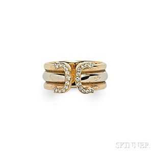 "18kt Tricolor Gold and Diamond ""C de Cartier"" Ring, Cartier"