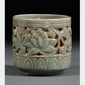 Celadon Reticulated Brush Pot