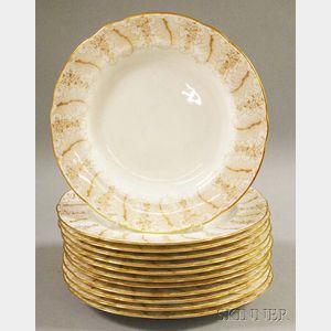 Set of Twelve Cauldon Gilt Porcelain Dinner Plates