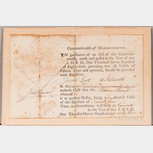 Hancock, John (1737-1793) Document Signed, Ship's Register 1784.