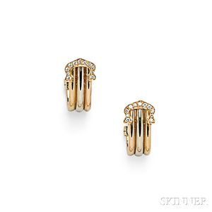 "18kt Tricolor Gold and Diamond ""C de Cartier"" Earclips, Cartier"