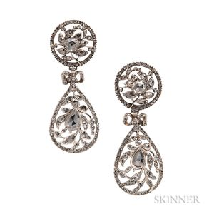Silver and Rose-cut Diamond Earrings
