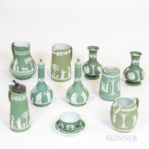 Ten Wedgwood Green Jasper Items