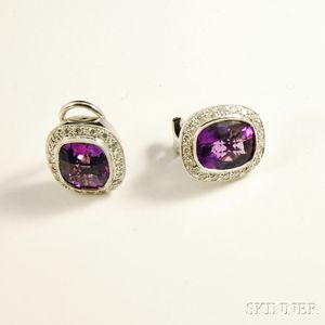 18kt White Gold and Amethyst Earclips