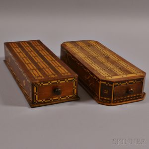 Two Similarly Inlaid Cribbage Box/Boards with Drawers