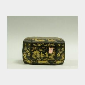 Chinese Export Gilt Decorated Black Lacquer Octagonal Box.
