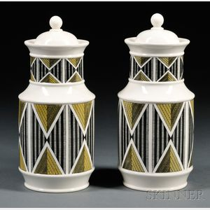 Pair of Wedgwood Queen's Ware Design 63 Canisters and Covers