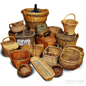 Large Group of Woven Splint and Wicker Baskets.