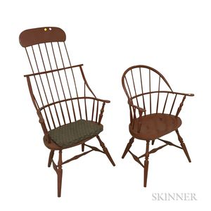 Two M. Dunbar Red-painted Windsor Chairs