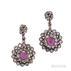 Ruby and Diamond Screw-back Earrings