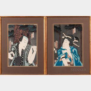 Utagawa Kunisada (Toyokuni III, 1786-1865), Two Woodblock Prints