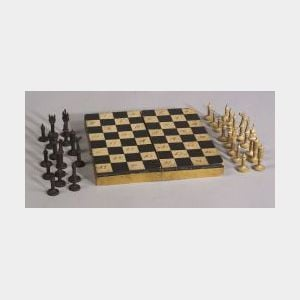 Small Painted Folding Game Box with Carved Wooden Chessmen