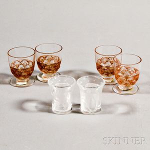 "Four Lalique Sepia ""Pouilly"" Cordials and a Pair of ""Enfants"" Cordials"
