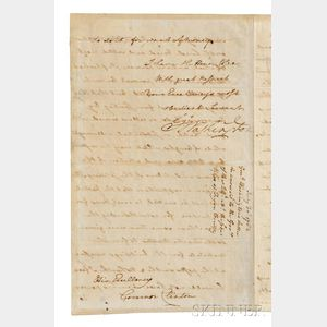 Washington, George (1732-1799) Letter Signed, Newburgh, New York, 30 July 1782.