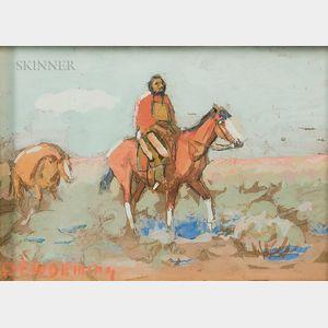 Edwin Willard Deming (American, 1860-1942)      Two Sketches of Figures on Horseback