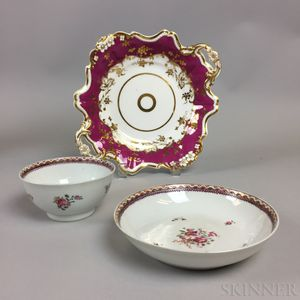 Chinese Export Porcelain Teacup and Saucer and a French Porcelain Dish.