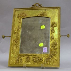 French Late Victorian Gilt-metal Dressing Mirror