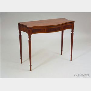 Federal Mahogany Carved and Inlaid Serpentine-top Card Table