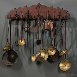 Carved Pine Hanging Board with Eleven Hooks Holding Twenty-three Kitchen Items