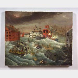 American School, 19th Century      The Great Providence, Rhode Island, Hurricane of 1815.