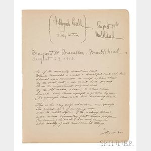 "Cummings, Edward Estlin (1894-1962) Unpublished Manuscript Poem Signed with an ""E,"" 30 August 1916."