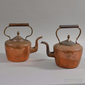 Two Copper Teakettles