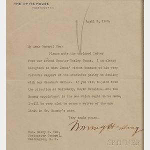 Harding, Warren (1865-1923) Typed Letter, Signed, 9 April 1923.