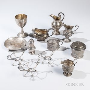 Twelve Pieces of Georgian Sterling Silver Tableware