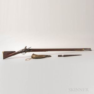 British Pattern 1769 Short Land Musket, Bayonet, and Horn