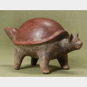 Pre-Columbian Painted Pottery Turtle-Dog Figure