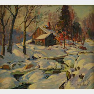 Thomas R. Curtin (American, 1899-1977)      Sugar Shack in Winter