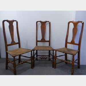 Assembled Set of Three Queen Anne Maple Side Chairs