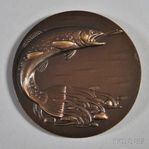 Gifford MacGregor Proctor (American, 1912-2006) Trout/Bronze Medal of The Society of Medalists, 47th issue, 1953. Initialed GP on the