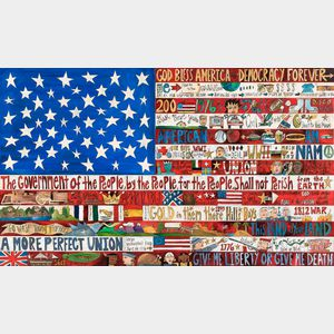 Sarah Grant (American, 20th/21st Century) Contemporary Folk Art Painted Wood Flag